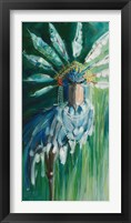 Framed Stork with Feathered Crown
