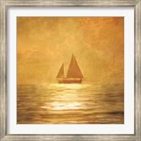 Framed Solo Gold Sunset Sailboat