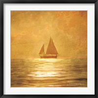 Framed Solo Gold Sunset Sailboat