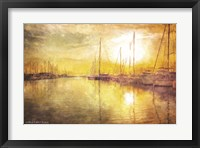 Framed Yellow Sunset Boats in Marina