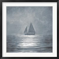 Framed Solo Blue Sea Sailboat