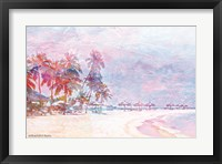 Framed Rainbow Bright Sandy Beach Umbrellas