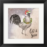 Framed Vintage Christmas Be Merry Rooster