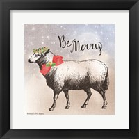Framed Vintage Christmas Be Merry Sheep