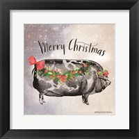 Framed Vintage Christmas Be Merry Pig