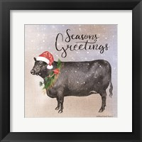 Framed Vintage Christmas Be Merry Cow