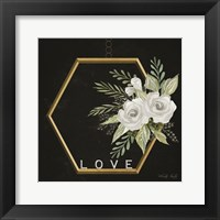 Framed Geometric Hexagon Muted Floral