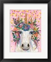 Framed Botanical Unicorn