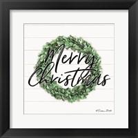 Framed Merry Christmas Boxwood Wreath