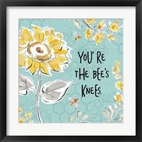 Framed Bee Happy II Linen