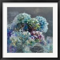 Framed Abstract Hydrangea Dark