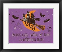 Framed Spooktacular I Black Cats Purple