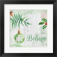 Framed Christmas Believe Green