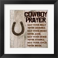 Framed Cowboy Prayer