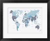Framed World Map Blue 1