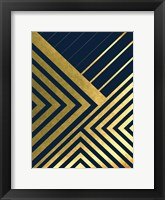 Framed Metallic Lines Navy 2