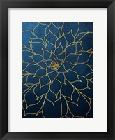 Framed Navy Gold Succulent 1