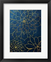 Framed Navy Gold Succulent 3