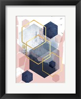 Framed Abstract Navy Blush Gold 1