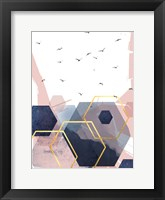 Framed Abstract Navy Blush Gold 2