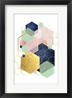 Framed Gold Blush Navy Mint Hexagonal