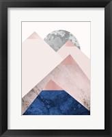 Framed PinkNavy Mountains 2