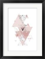 Framed Blush Pink Marbled Geometric