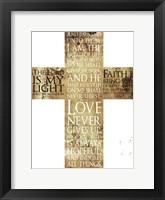 Framed Text Gold Cross