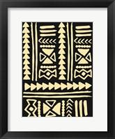 Framed Wooden Tribal Cream