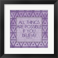 Framed Purple Triangles Believe