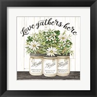 Framed White Jars - Love Gathers Here