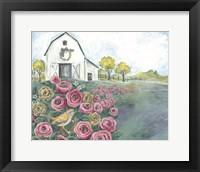 Framed Pink Flower Field