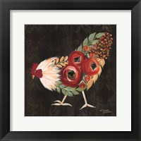 Framed Botanical Rooster