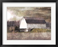 Framed Rustic White Barn Scene I