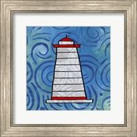 Framed Whimsy Coastal Conch Lighthouse