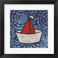 Framed Whimsy Coastal Sailboat