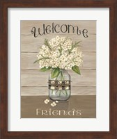 Framed Welcome Friends Mason Jar