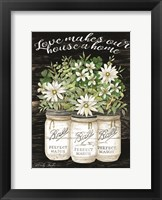 Framed White Jars - Love Makes Our House a Home