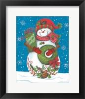 Framed Snowman with Wreaths