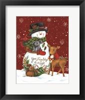 Framed Snowman with Deer