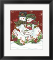 Framed Snowman Parents with Baby