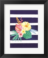 Framed Watercolor Flowers Blue Lines I