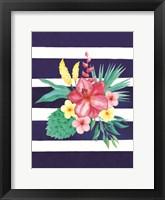 Watercolor Flowers Blue Lines II Framed Print