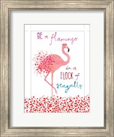 Framed Flamingo in a Flock of Seagulls