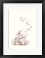 Framed Baby Elephant with Bubbles