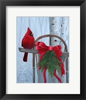 Framed Red Cardinal and Sled
