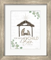 Framed For Unto Us a Child is Born