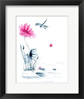 Framed Pink Flower and a Lily Pad II