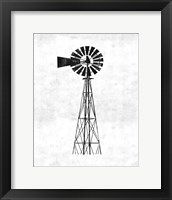 Framed Black and White Windmill
