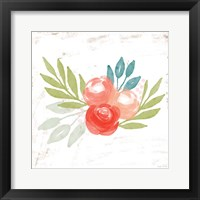 Framed Coral Rose Bouquet I